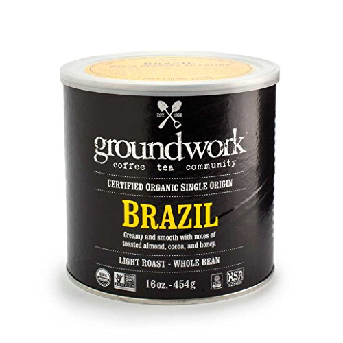 Cornerstone Coffee, Organic Brazil, Whole Bean, 16-Ounce Cans (Pack of 2)