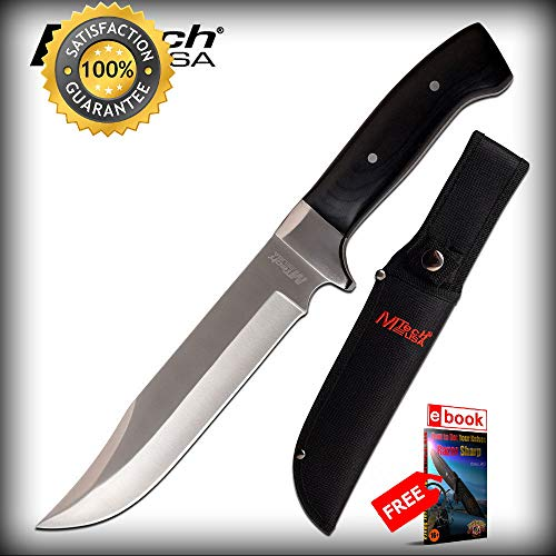 Bowie SHARP KNIFE Mtech 12'' Overall Black Wood Handle Full Tang Hunter + Sheath Combat Tactical Knife + eBOOK by Moon Knives Air Force Lockback Knife