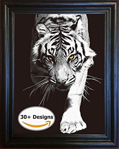 Black & White Wild Cats, Lion Tiger Leopard Framed 3D Lenticular Picture - 14.5x18.5