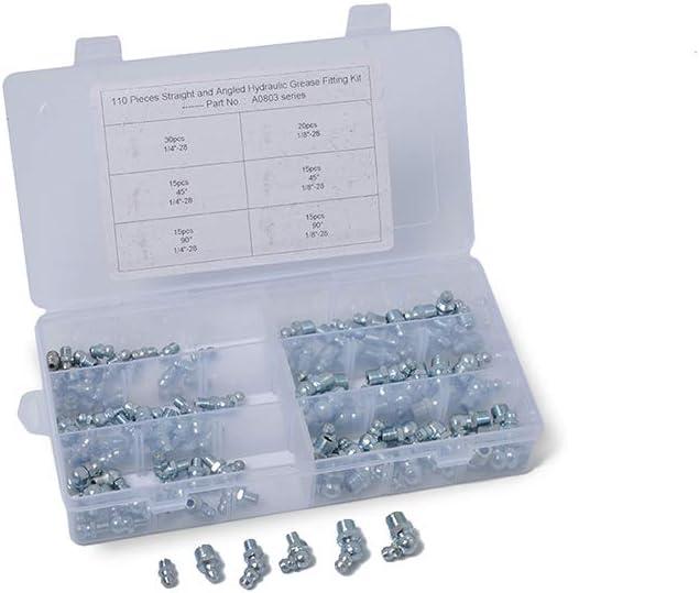 ELENXS 110PCS 1 4 Pouce 1 8 Pouce hydraulique Graisse Zerk raccord dhuile Kit Buse 90 45 degr/és