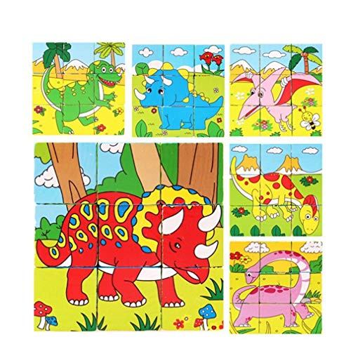 PROW® 6 in 1 Wooden Cube Dinosaur Pattern Blocks Animals Jigsaw Puzzles Promote Eye and Hand Coordination And Shape Recognition Toddler Toys, 9 Pcs