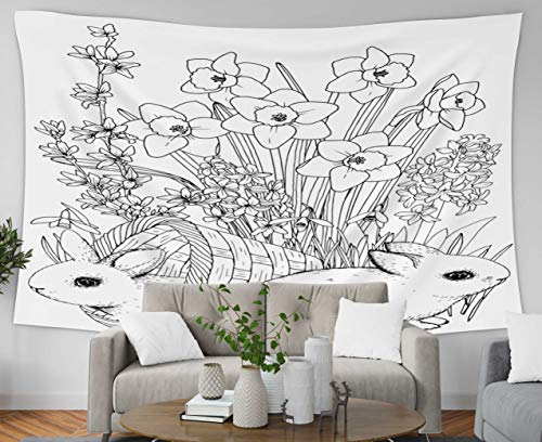 Anucky Tapestry Wall Hanging, Tapestries Polyester Fabric for Home Decoration, Easter Bunny Spring Flowers Daffodil Printable Coloring Book Page Dorm Décor and Bedroom 80x60 inch Huge Tapestry]()