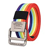 Missfiona Mens Womens 49'' Long Canvas Double D-ring Buckle Military Outdoor Belt(Rainbow, 125cm)