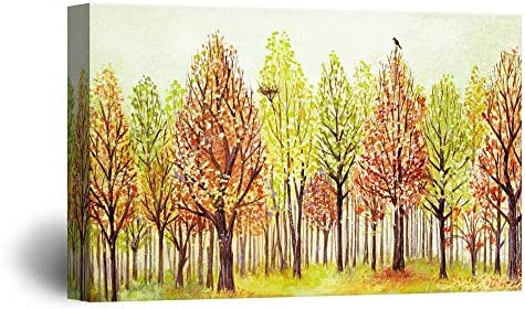 Watercolor Style Colorful Trees a Bird a Bird Nest