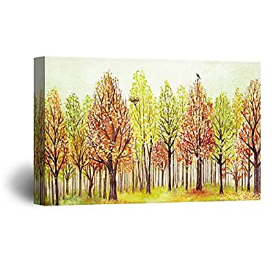 Lovely Expertise, Watercolor Style Colorful Trees a Bird a Bird Nest, Made For You