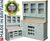 100% Solid Wood 5ft Buffet Hutch, Handcrafted & F&B Painted Bordeaux Options Contrasting Glazed Dresser with Wine Rack. (BDX5GT-WRP) You Choose the Paint Finish! (30mm Redwood Pine Top)