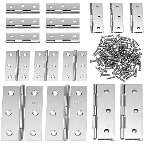 Boao 16 Pieces Stainless Steel Folding Butt Hinges Silver Tone Home Furniture Hardware Door Hinge with 96 Pieces Stainless Steel Screws (2 Inch and 3 Inch)