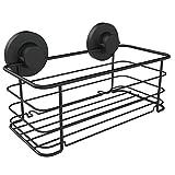 Gecko-Loc Deep Shower Shelf Caddy Storage Basket Shampoo Conditioner Holder w Vacuum Suction Cups No Hooks No Drilling - Sponge Shampoo Conditioner Holder- Stainless Steel