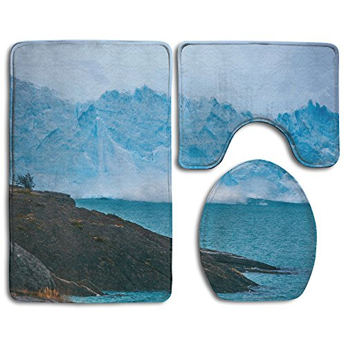 Iceberg Rocks Sea Shore Bath Mat Custom Non-Slip 3 Piece Bathroom Mat Bathroom Rugs/Contour Mat/Toilet Cover