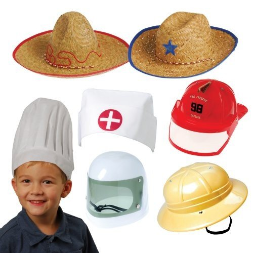 Constructive Playthings Career and Adventure Hats, Dress-Up Costumes for Kids, Set of -