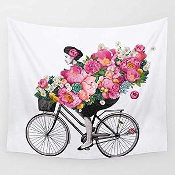 RDTFGYV Bicicleta Tapices Hippie Impresión Bohemia Hogar Tapices Colgante De Pared Casa Sala De Estar Decoración Toalla De Playa Yoga Manta 200X150 Cm: ...