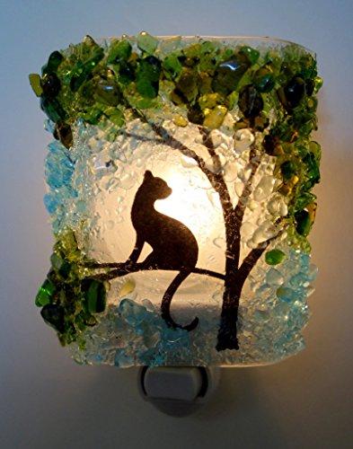 (Cat in Tree Recycled Glass Night Light by Reborn Glass Nightlight, Nitelite, Nite Lite)