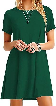 yming Mujer Vestido Manga Corta en Vrac – Camisa loose larga Camiseta Midi vestido 24 Color, xS-XXXXL (34 – 52)