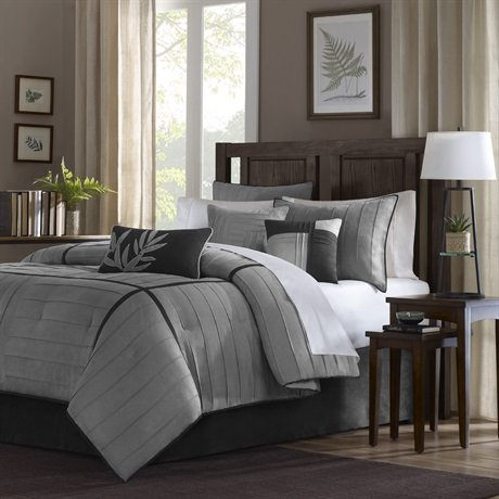 picture of Connell 7 Piece Comforter Set Color: Grey, Size: Queen