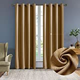 Cheap Nicasso Basics Solid Blackout Room Darkening Grommet/Eyelet Top Window Curtains Panels Thermal Insulated Draperies for Bedroom(Single panel,W52 x L84,Camel)