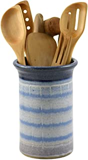 product image for American Made Stoneware Pottery Countertop Utensil Holder Jar in Blue Mist