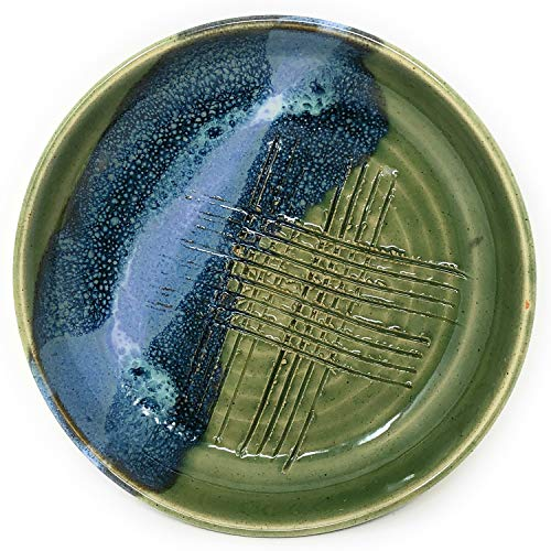 Mosquito Mud Pottery Garlic Grater Dipping Bowl, Green ()