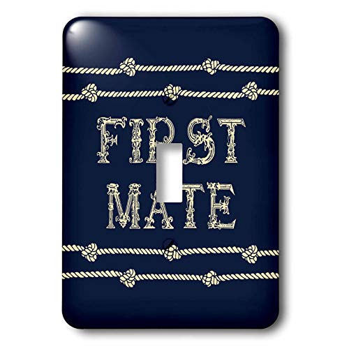 3dRose Russ Billington Nautical Designs - Knotted Rope and Text First Mate in Ivory over Navy Blue - Light Switch Covers - single toggle switch (lsp_291574_1)