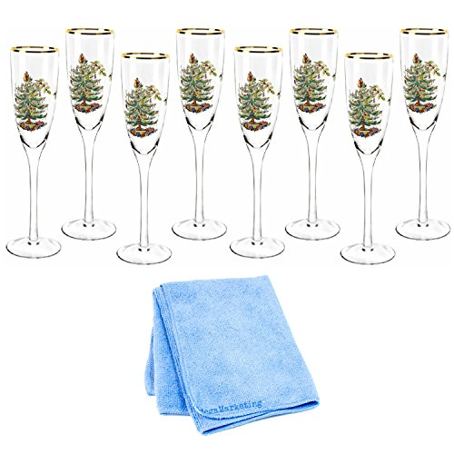 Spode Christmas Tree Champagne Flutes, 2-Pack (Total of 8) with Dish Cloth by Spode