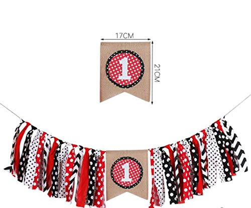 Minnie Mouse Party Supplies White Black Red Highchair Banner for Minnie Mouse Birthday Party Decorations,Baby Girl First Birthday Decorations, Baby Shower, High Chair Decoration, Photo Backdrop Decor -