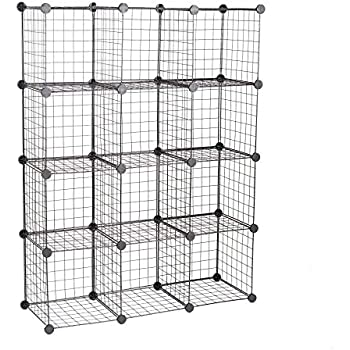 Amazon Com C Amp Ahome Metal Wire Cube Storage 12 Cube Shelves Organizer Stackable Storage Bins