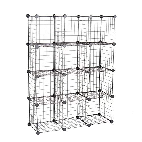C&AHOME Metal Wire Storage Cubes,DIY 12-Cube Closet Cabinet and Toys Shelving Grids, Wire Mesh Bookcase Shelves or Shoe Rack, Black