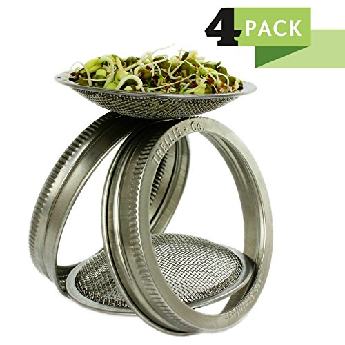 T&Co. Premium 316 Stainless Sprouting Jar Lid Kit – STAMPED Lid & CURVED Mesh for Superb Ventilation! – Use Wide Mouth Mason Jars for making organic sprout seeds in your kitchen (4)