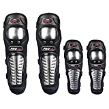 Lozom Adults Alloy Steel Motorcycle ATV Motocross Elbow Knee Shin Guard Pads Elbow Knee and Shin Guard Pads
