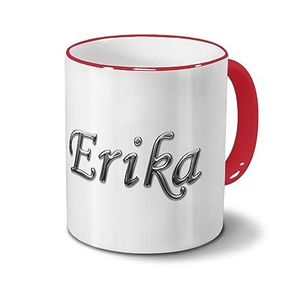 Taza con nombres Erika – Diseño de cromo de texto – Nombre Taza, Taza de