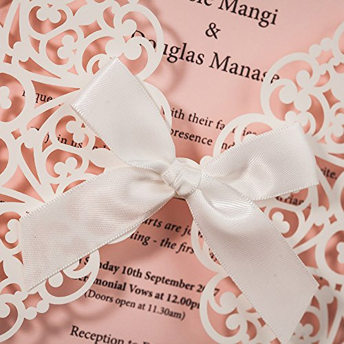 Hollow White Lace Flora Flowers Wedding Invitations Elegant Laser Cut Ribbon Bowknot Party Greeting Paper Cards CW6177 (100) by Wishmade (Image #2)