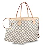 Womens Classic Canvas Neverfull Top-Handle Tote Bag Large Volume Shoulder Bag (MM 32cm, damier Azure with beige inside)
