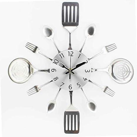 Sunlera 3D Extraíble Moderna Cocina Cubiertos Cuchara Tenedor Reloj de Pared Tatuajes de Pared Espejo