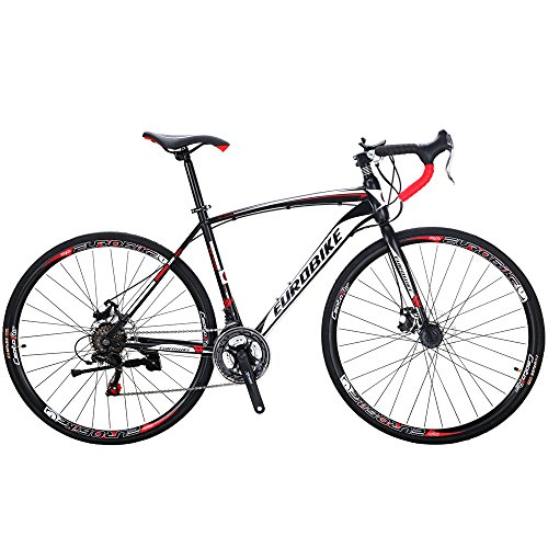 EUROBIKE Road Bike EURXC550 21 Speed 49 cm Frame 700C Wheels Road Bicycle Dual Disc Brake Bicycle Black-White 30
