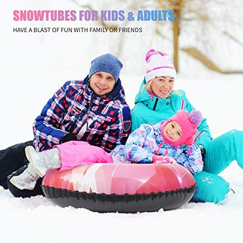 """CALO Snow Tube Sled for Kids and Adults 2 Pack, 34"""" Snow Sleds Heavy Duty with Handles and Bottom, Big Inflatable Snow Tubes for Outdoor Sledding for Boys Girls"""