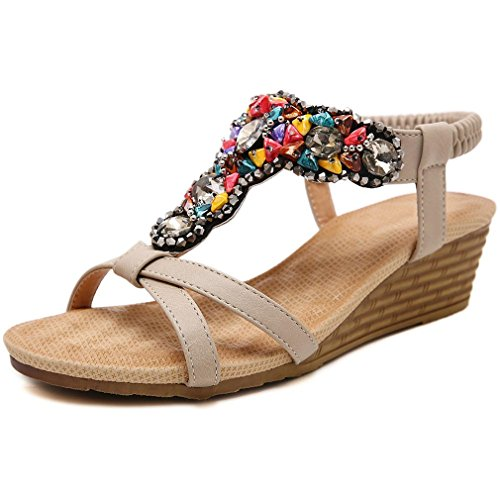 Apricot Bohemia Femmes Lumino Plage Sandales Strass Chaussures Vintage Wedge Femmes Été Femme Tongs TZ47xqA