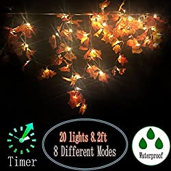 ZDMALL Fall Decorations,Fall Garland,Fall Wreath,8 Modes Lighted Maple Leaves Garland 20LED/8.2FT for Thanksgiving Christmas Halloween Party Wedding DIY with Timer(Warm White)