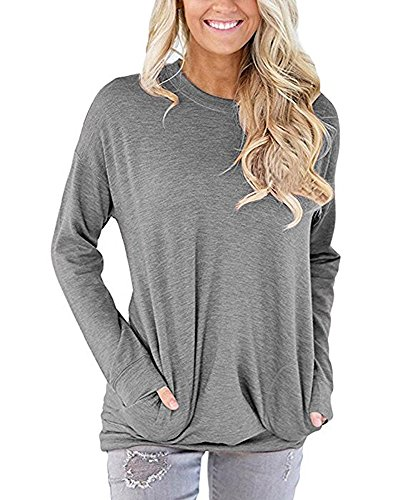 SVALIY Women Solid Color Round Neck Casual Loose Long Sleeve Sweatshirt T-shirts Tops Blouse Gray M