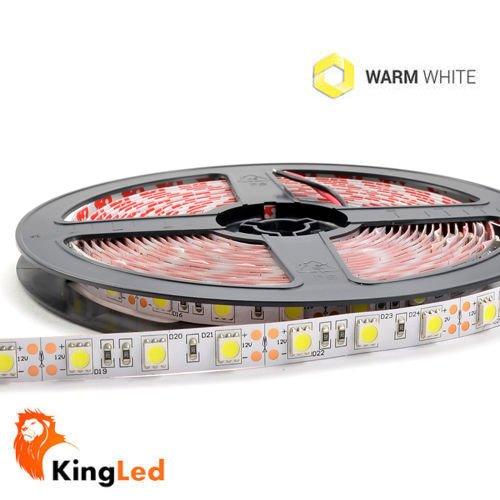 Tira LED 5 metros 300 Leds SMD5050 IP65 Resistente al agua 72W 6600lm 120° DC12V 2700k Color Blanco cálido: Amazon.es: Iluminación