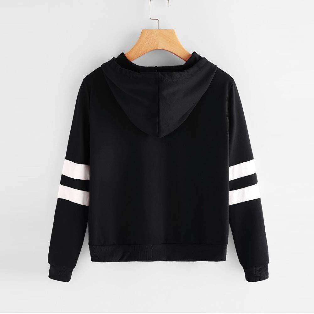 Jieson Women Pullover Top Applique Striped Drawst Crop Hoodie Sweatshirt Jumper