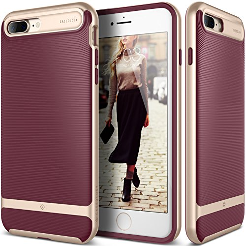 Caseology for iPhone 8 Plus case/iPhone 7 Plus case [Wavelength Series] - Slim Fit Dual Layer Protective Textured Grip Corner Cushion Design Case for iPhone 8 Plus/iPhone 7 Plus - Burgundy from Caseology