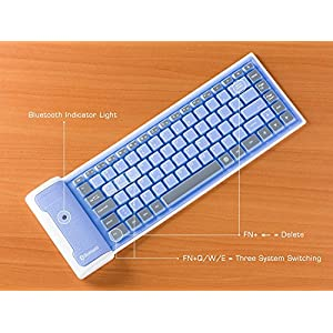 Eastchina® Newest Mini Portable Waterproof Foldable Wireless Bluetooth Silicone Keyboard Apple Ipad, Ipad 2,ipad 3,ipad 4,ipad 5, Ipad Air,ipad Air 2,ipad 6, Ipad Mini, Ipad Mini 2, Ipad Mini 3, Work in Windows Operating Systems:2000, Server2003,xp,vista,win 7, Win 8, Win 10 and MAC Os (Blue)