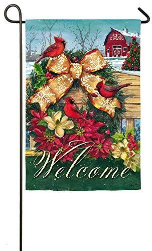Evergreen Cardinals Wreath on Fence Suede Garden Flag, 12.5 x 18 - Of Pembroke Pines Shops