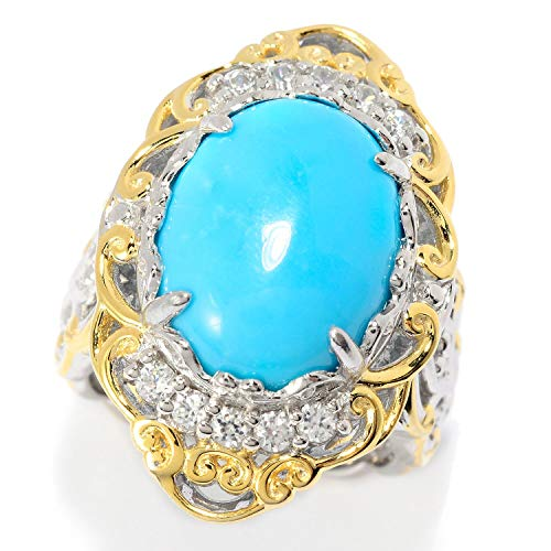 Michael Valitutti Palladium Silver Kingman Turquoise & White Zircon Cocktail Ring