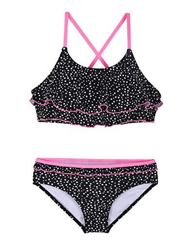 (Hilor Girl's Bikini Swimsuits Ruffle Flounce Two Piece Beach Swimwear Tankini Set Black Dot M/7-8)