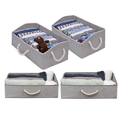 Fabric Storage Bins, Linen Closet Organizers and Storage Boxes for Shelves, Home Storage Baskets for Organizing, 4-pc Grey Storage Box Organizers, Collapsible Storage Bins, Playroom Organization Bins
