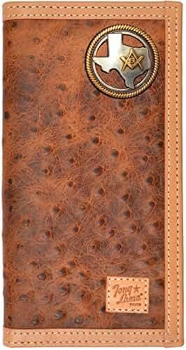 Custom Tony Lama Texas Mason Rodeo Ostrich Print Leather Checkbook Wallet
