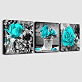 "bedroom wall decor wall art for bedroom Simple Life Black and white rose flowers Blue Canvas Wall Art Decor 12"" x 12"" 3 Pieces Framed Canvas Prints Watercolor Giclee with Black Border Ready to Hang for Home Decoration"