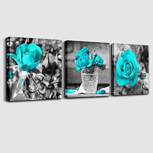 wall art for bedroom Simple Life Black and white rose flowers Blue Canvas Wall Art Decor 12'' x 12'' 3 Pieces Framed Canvas Prints Watercolor Giclee with Black Border Ready to Hang for Home Decoration by MHART66