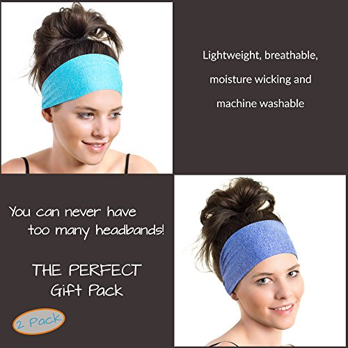 Red Dust Active Lightweight Sports Headband - Non Slip Moisture Wicking Sweatband - Ideal for Running, Cycling, Yoga and Athletic Workouts - by Twin Pack by Red Dust Active (Image #3)