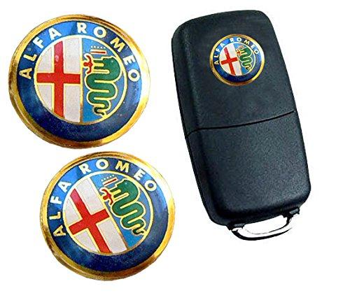 EU x2 Pegatinas Emblema ADESIVO Logo Alfa Romeo para Mando Llave 14mm Llavero Coche Moto
